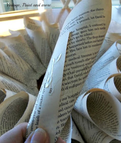 Vintage, Paint and more... Gluing the 4th row of book page cones to the book page wreath