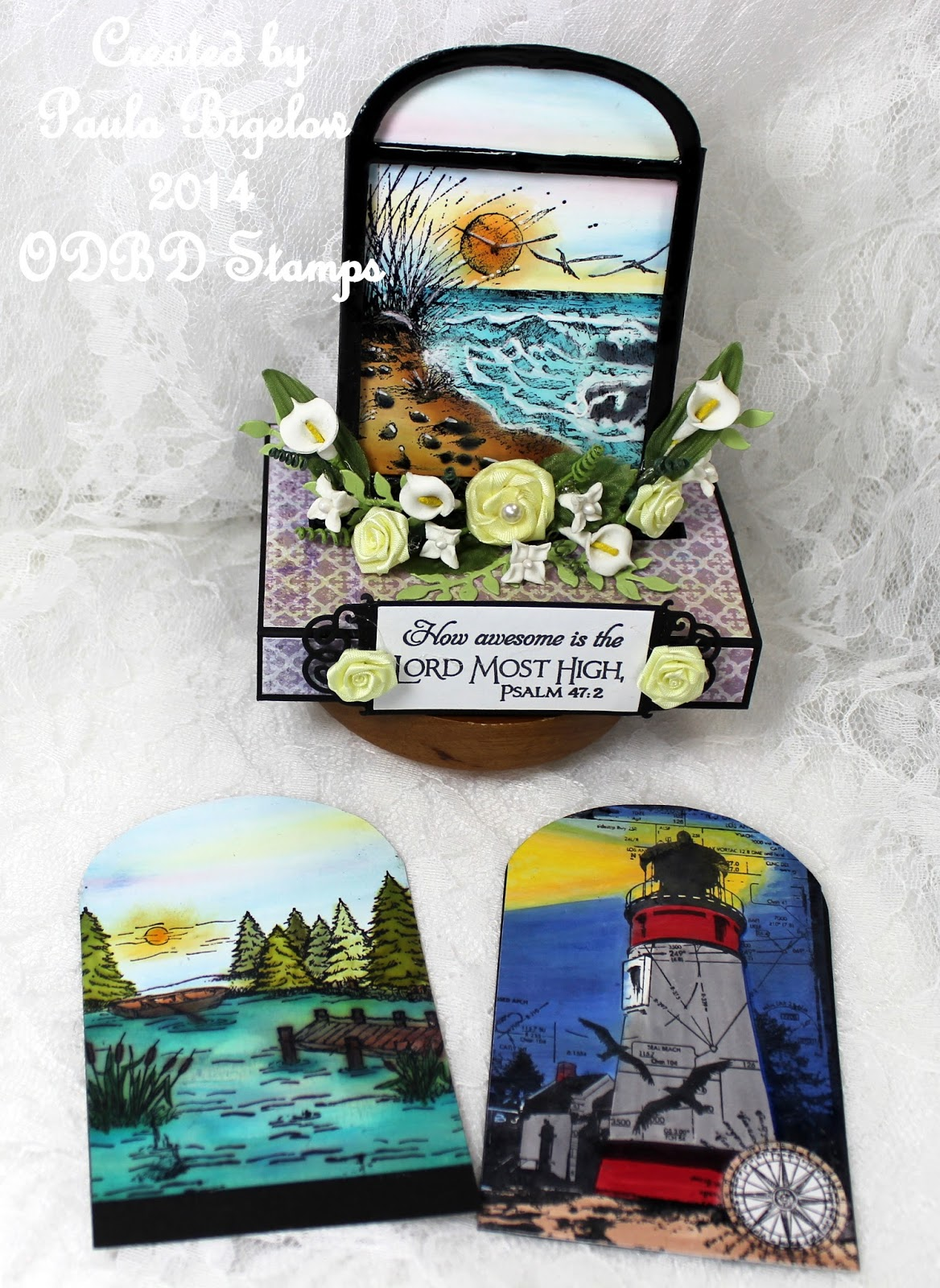Stamps - Our Daily Bread Designs Christian Faith Collection Paper Collection, ODBD Custom Vintage Flourish Pattern Dies, ODBD Custom Window Die, ODBD Custom Fancy Foliage Dies, Keep My Lamp Burning, Pond Single, The Mighty Sea and Scripture Collection 3