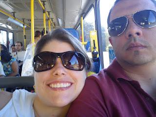 715682b6d6bf2 Aproveito para mostrar uma foto nossa, no ônibus da Usina Itaipu Binacional