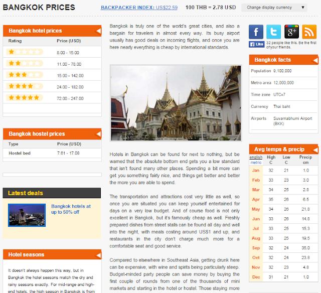 Preços e informações para Bangkok através do Price of Travel