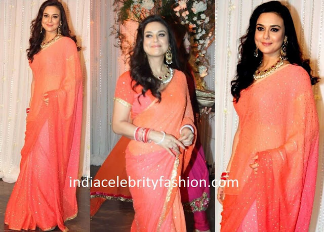Preity Zinta in Glitter Sari at Bipasha basu Wedding Reception