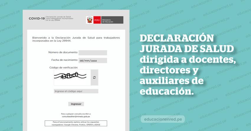 MINEDU solicita a Directivos, Docentes y Auxiliares enviar declaración jurada de salud a través del Formulario Virtual