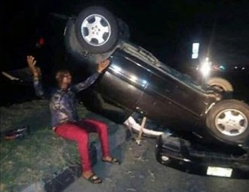 Popular Nigerian comedian, MC Shakara, walked out unscratched after his involvement in a ghastly accident.