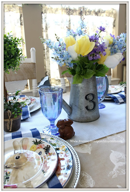 Spring-Easter-Tablescape-Cottage-Farmhouse-Blue-White-Buffalo_Check-Faux Chocolate Bunny-Pionner Woman-From My Front Porch To Yours