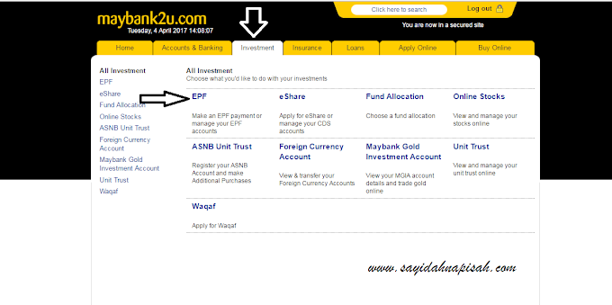 mudah je bayar online EPF (KWSP) melalui maybank2u