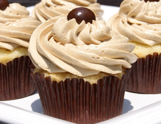 12 Coffee Dessert Recipes For Caffeine Enthusiasts - Vanilla Cupcakes with Coffee Buttercream Frosting