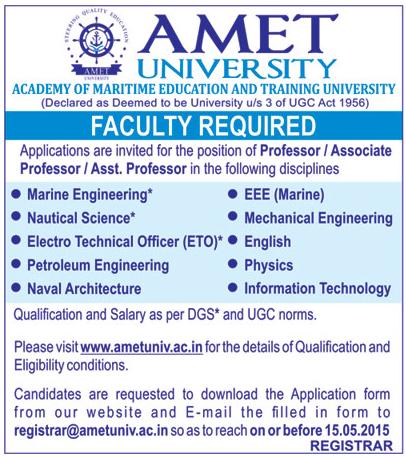 Faculty Plus AMET University-Chennai Wanted Professor