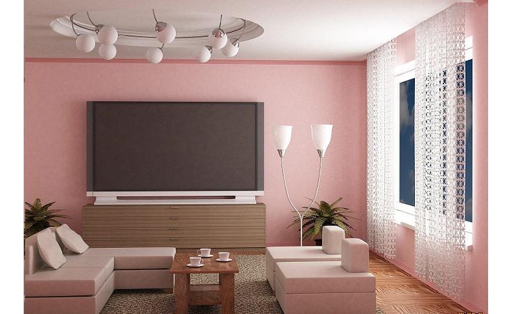sala com sofa rosa