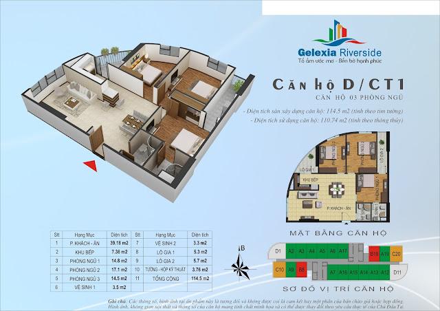 Thiết kế căn hộ D - 3 phòng ngủ tòa CT1 Gelexia Riverside