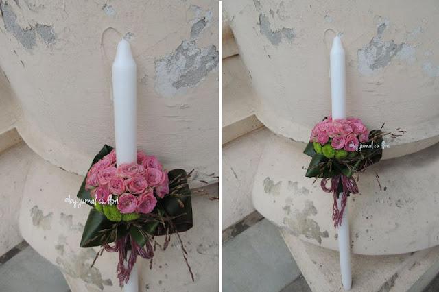 lumanare botez lunga cu trandafiri roz