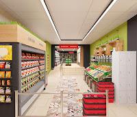 Дизайн супермаркета продуктовый магазин Брусника вкусника Екатеринбург Dulisov design студия интерьер
