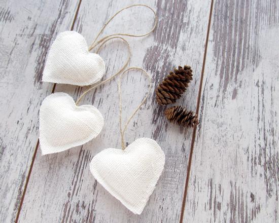 White hearts, белые сердца, украшения
