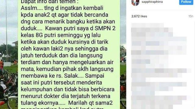 Kisah Anak SMP Yang Lumpuh Karena Bangkunya Ditarik Oleh Temannya Yang Iseng Ini Menjadi Viral
