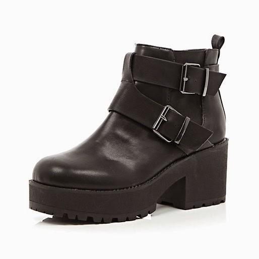river island chunky buckle boots
