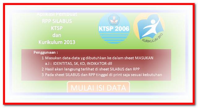 Aplikasi Pembuat RPP Dan Silabus Kurikulum 2013 Format Excel.Xlsx Versi Terbaru