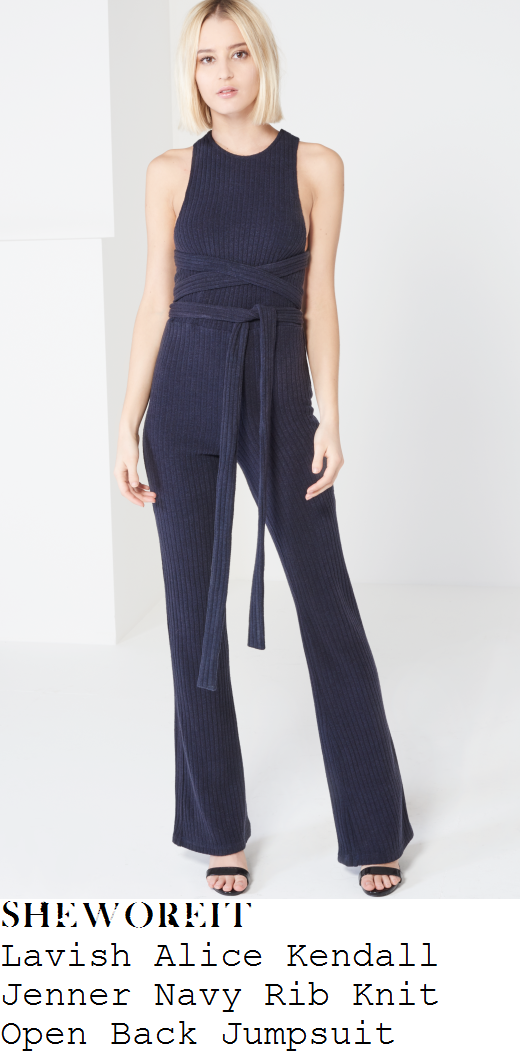 kendall-jenner-navy-blue-sleeveless-ribbed-knit-belt-detail-jumpsuit-nyfw