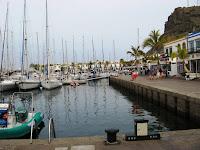 boats lying idle in the harbour of Puerto de Mogan