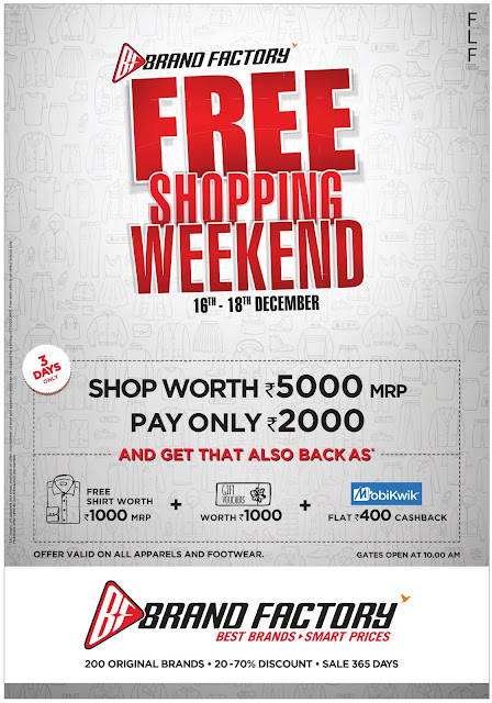 Brand Factory Free shopping weekend | December 2016 Christmas sale festival discount offers |  | Brand factory flat 50% off
