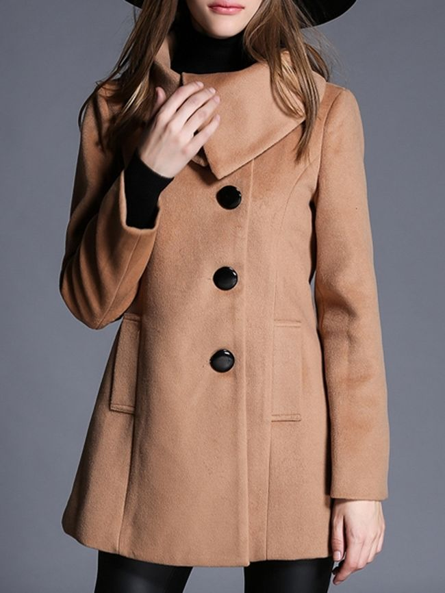 Charming Single Breasted With Pockets Plain Overcoats