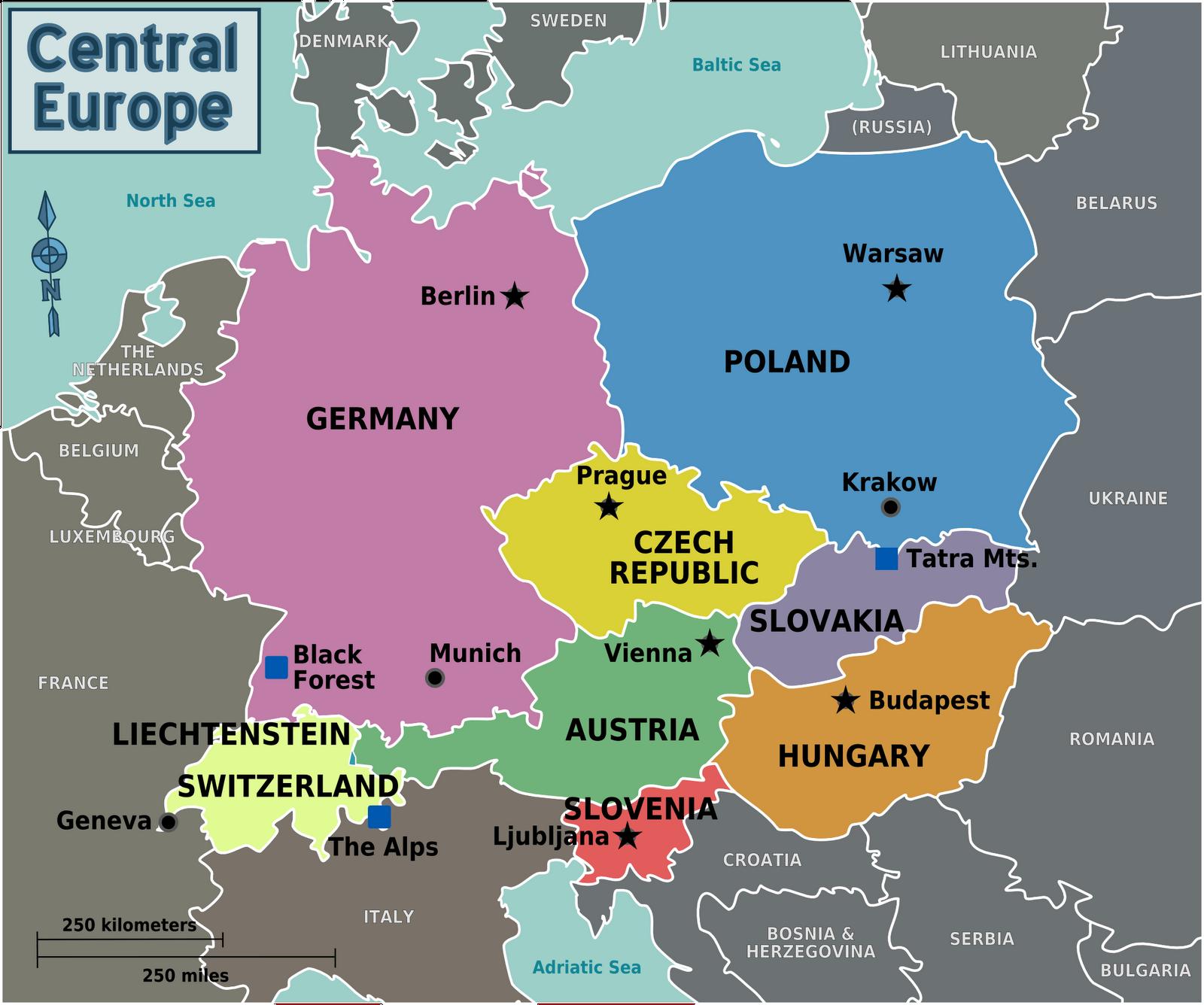 Printable Geographic Map Hungary