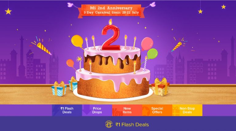 Xiaomi's Mi Anniversary Sale from July 20 to 22nd – Rs. 1 Flash Sale, Discounts and Giveaways