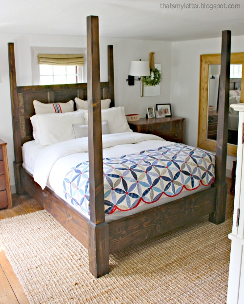 """Diy Four Poster Canopy With Lights: That's My Letter: """"S"""" Is For Striped Euro Shams"""
