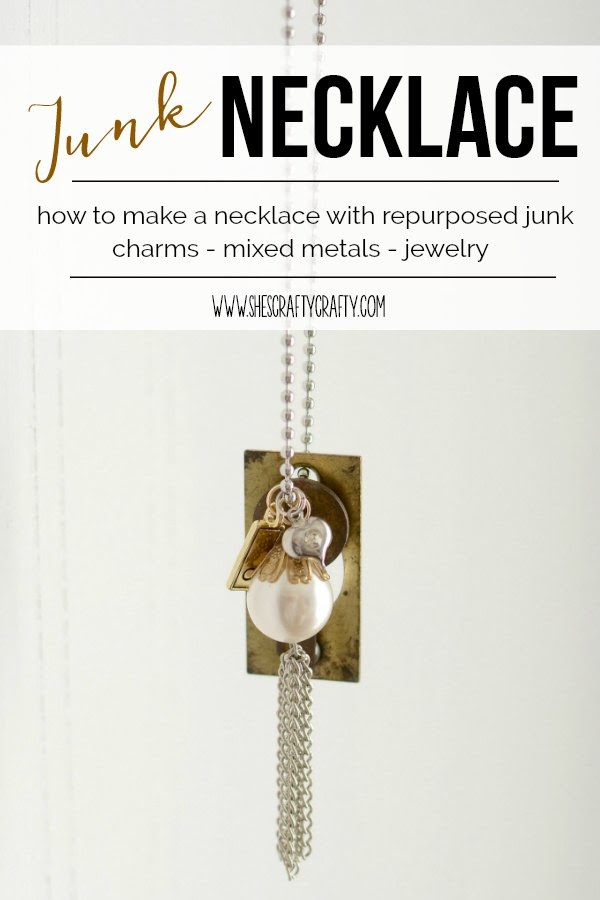 how to make a junk necklace, repurposed, charms, jewelry