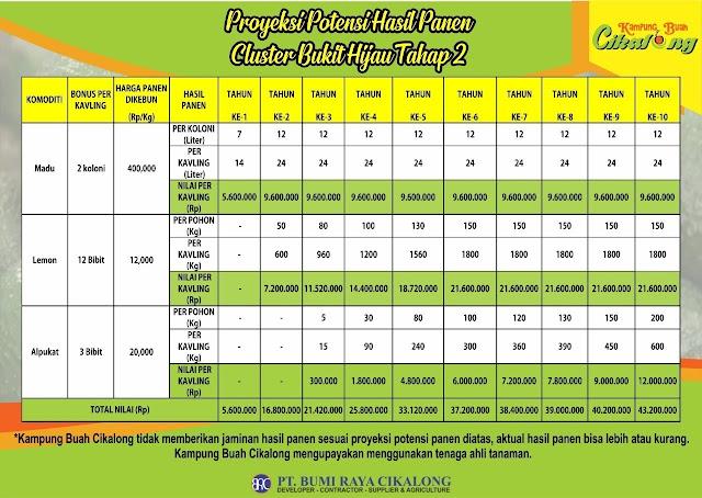 proyeksi pasive income cluster bukit hijau tahap 2