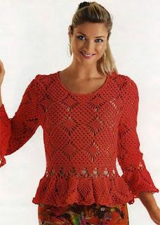 Пуловер с баской и воланами