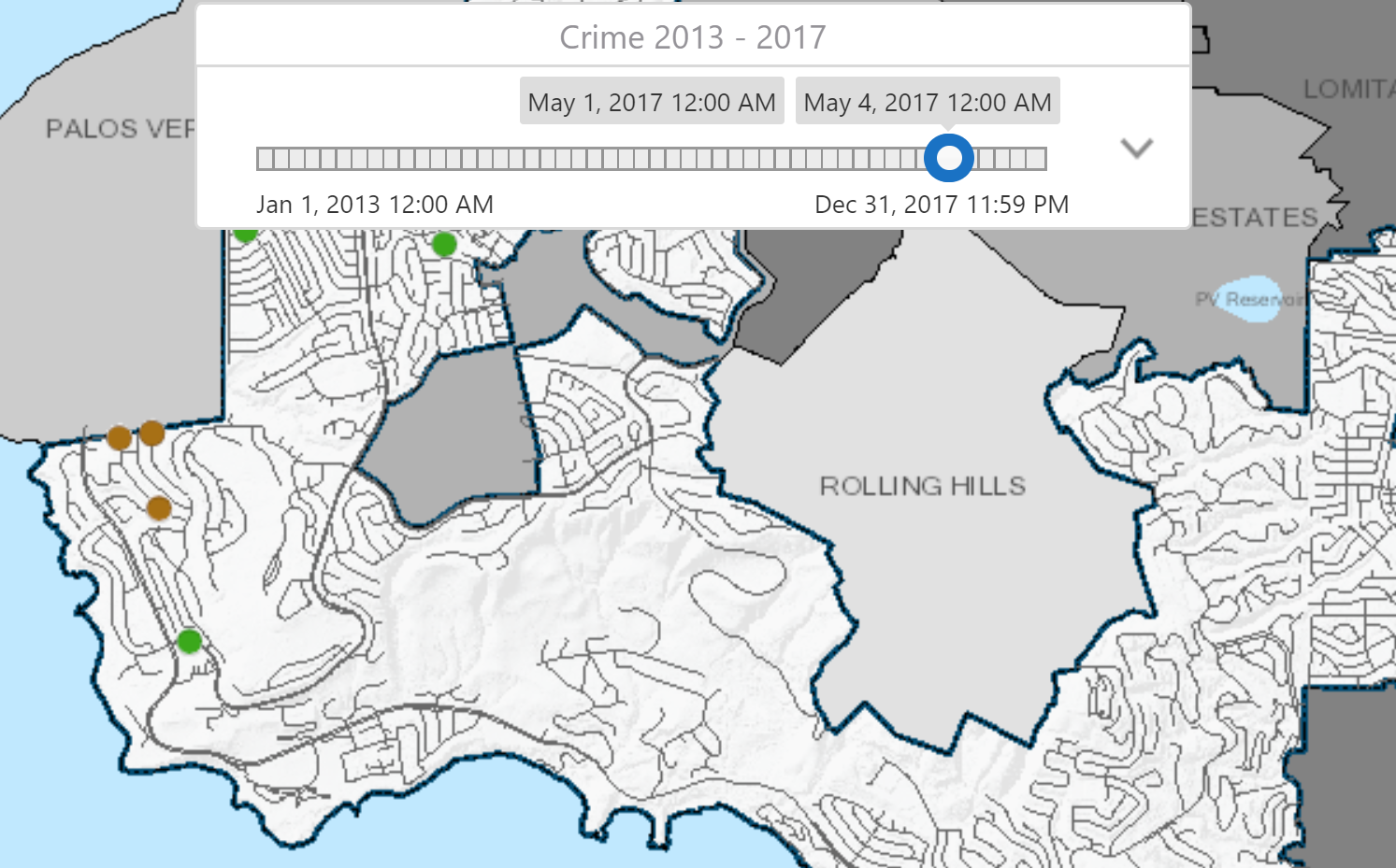 the crime viewer also has a comprehensive report where the public can view where crime has increased or decreased by category from 2005 present