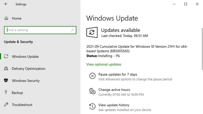Install Windows 10 update KB5005565 for versions 2004, 20H2, and 21H1