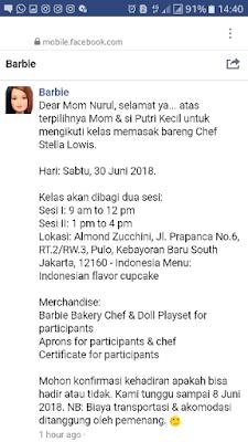 pesan masuk barbie tentang lolos masok kelas masak bersama barbie chef stella lowis nurul sufitri blogger