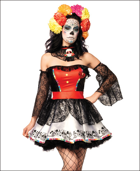 ... sleeves and a matching neck piece with a sugar skull applique. Create your own Day of the Dead makeup and head piece to complete this fabulous costume!  sc 1 st  Find your perfect Halloween costume! & Find your perfect Halloween costume!: Sugar Skull Beauty Day of the ...
