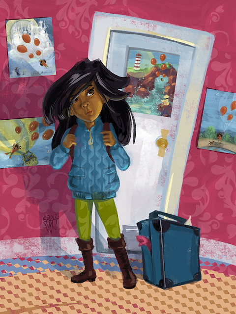 The Girl with Ruby Pink Walls childre's book character art by Traci Van Wagoner