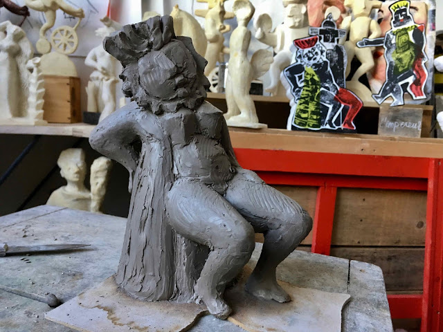 Brigitte Rio, sculpture, terre, moulage, Tarot, impératrice