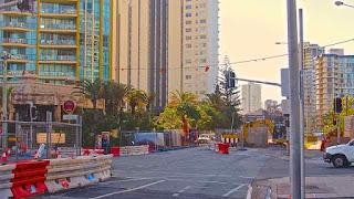 Light rail Construction August 2012 Ocean avenue Surfers Paradise