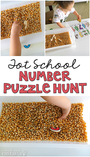 We LOVE this number puzzle hunt sensory bin. Great for tot school, preschool, or even kindergarten!