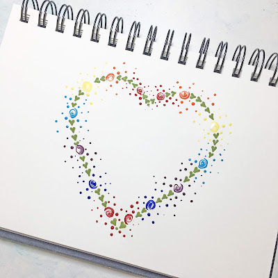 A rainbow makeover for You Can Folk It's dot rose design from the Round Brush kit
