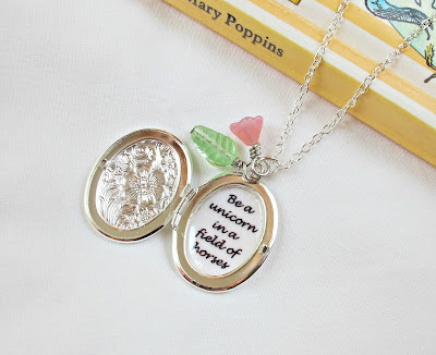 locket necklace quote be a unicorn in a field of horses botanical floral two cheeky monkeys