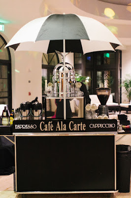 expresso coffee cart at wedding reception