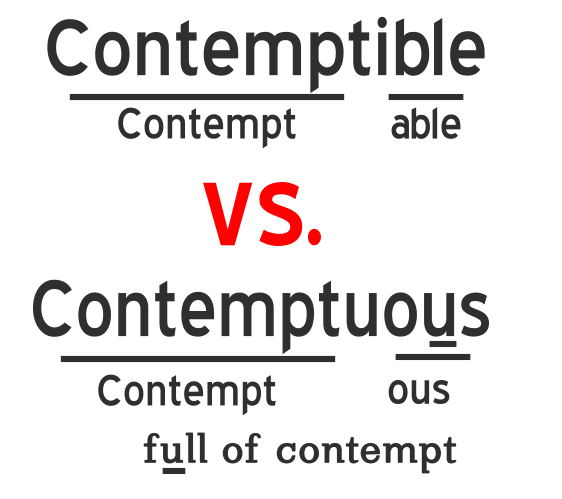 Contemptible vs contemptuous, learn with mind trick.