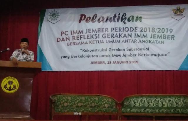Tausiyah KH. Kusno dalam pelantikan PC IMM Jember