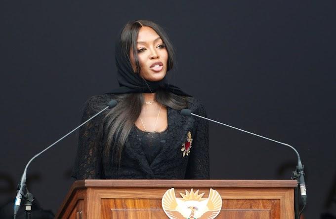 Naomi Campbell cries as she pays tribute to Mam'Winnie. #WinnieMandela