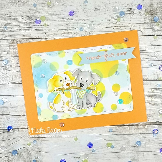 Puppy and Stick Card by Naki Rager | Puppy Pals Stamp Set and Bokeh Stencil Set by Newton's Nook Designs #newtonsnook #handmade