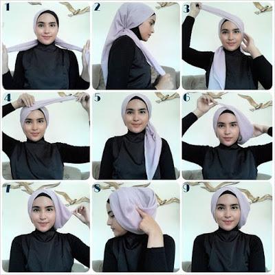 Tutorial Hijab Turban Segi Empat Modern Gaya #10 Side Layering