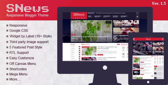 Blogger Premium template Snews ver.1.5
