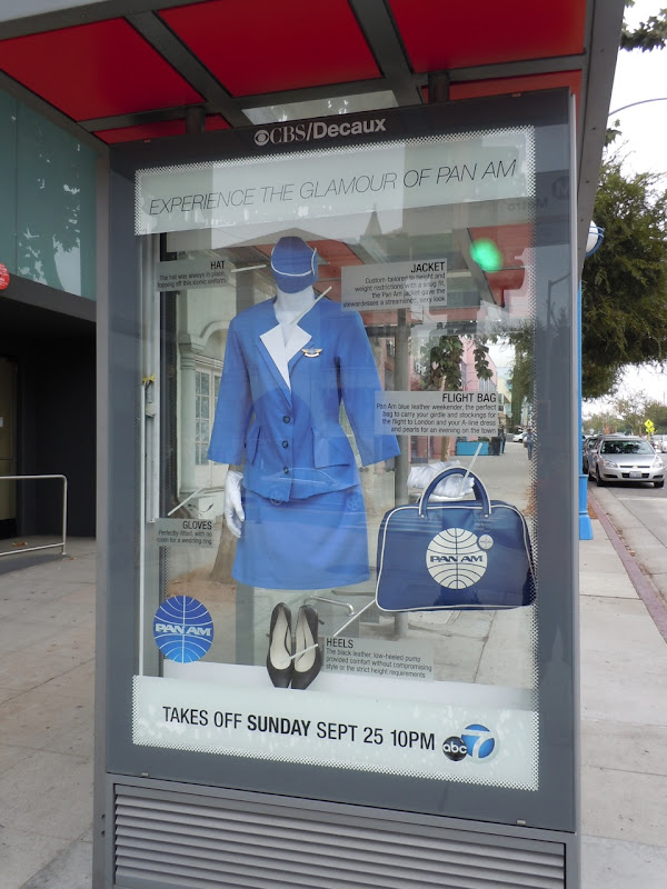 Pan Am bus shelter costume installation