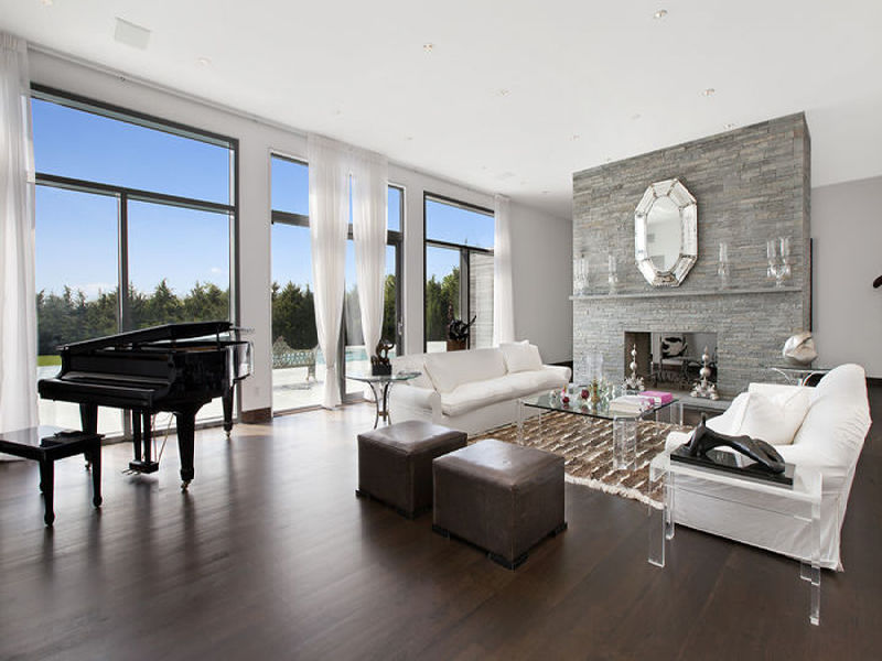 Dark Wood Floor Grey Walls Living Room Home Design Ideas