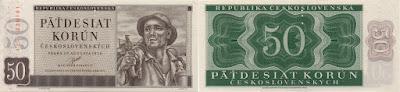 Checoslovaquia: Billete de 50 coronas  de 1950, de la antigua República de Checoslovaquia