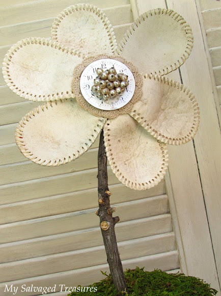 repurposed baseball flowers